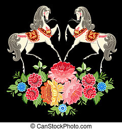 Fairy horses in flowers