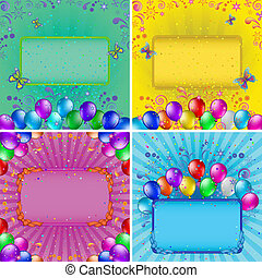 Holiday backgrounds with balloons, set