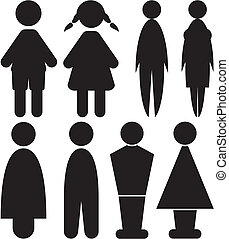 men and woman signs - toilet - black and white signs on the...
