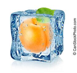 albaricoque, Cubo, aislado, hielo