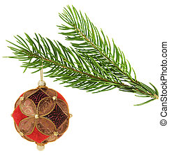 chistmas ball hanging on a branch - beautiful ornate...