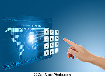 Hand pushing touch screen button with blue background with...