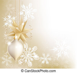 Gold snowflake and Christmas bauble - A gold snowflake and...