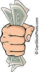 Hand holding money drawing - A drawing of a hand holding...