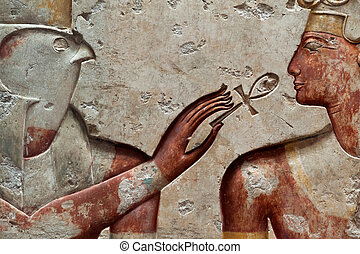 Ramses II and falcon-head god Horus - Ancient egyptian...