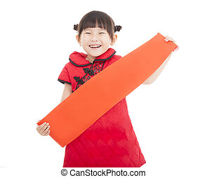 happy chinese new year. smiling asian little girl holding...