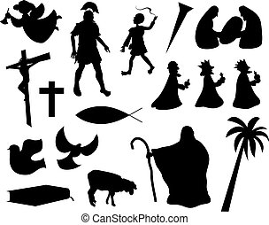 Christian life - collection of christian related silhouette...