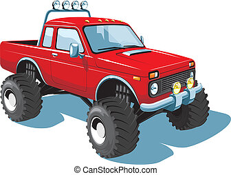 Monster truck - Vector isolated off-road vehicle on white...
