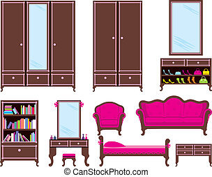 Set of furniture - Vector illustration. It is created in the...