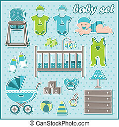 Set of baby boy icons - Vector illustration. It is created...