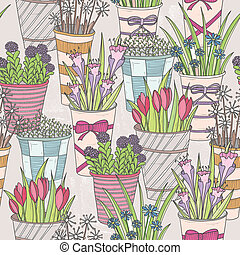 Cute seamless floral pattern. Pattern with flowers in...