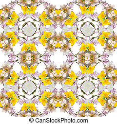 Abstract floral kaleidoscope seamless pattern