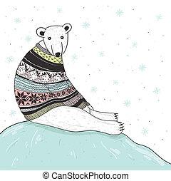 Christmas card with cute polar bear. Bear with fair isle...