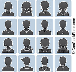 Man and woman avatars - Vector illustration of Man and woman...