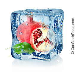 Ice cube and pomegranate isolated on a white background