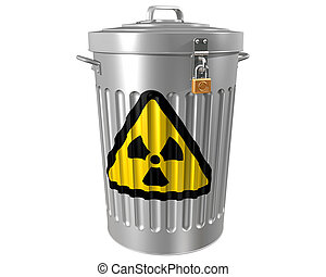 Radioactive Waste - Illustration of a traditional trashcan...
