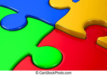 Puzzle on white background. 3D image