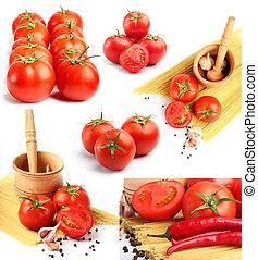 tomatoes, peppers, spaghetti and spices collage
