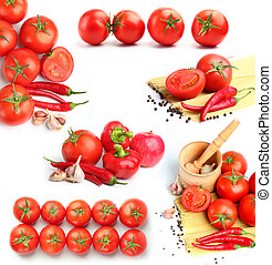 tomatoes, red peppers,spaghetti and spices collage