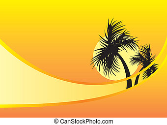 two palm trees - yellow background with two black palm trees