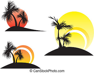 palm trees on a sunset - three illustrations of the palm...