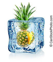 Ice cube and pineapple isolated on a white background