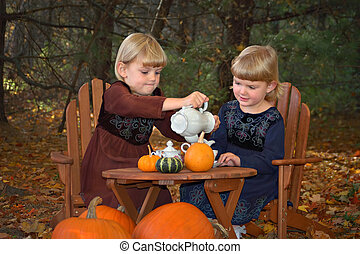 Autumn Tea Party - Two young girls having an outdoor tea...