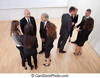 Business people chatting - High angle view of professional...