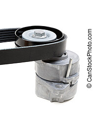 Generator belt tensioner pulley with Poly-V belt. Isolate on...
