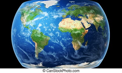 World Map Wraps to Globe (black bg) - World map wraps around...