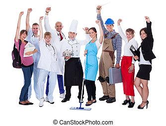 Grupo, pessoas, representando, diverso, profissões