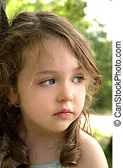 Pondering Life - a pretty little girl with a thoughtful...
