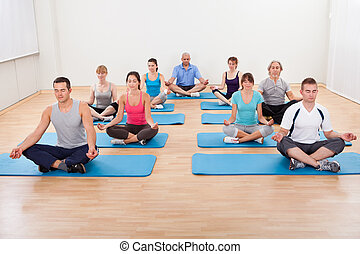 Group of people practicing yoga meditating - Diverse group...
