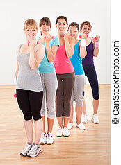 Aerobics class working out with dumbbells - Aerobics class...
