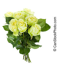 Green roses bouquet Isolated on white background