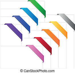 Corner ribbons in various colors - Empty colorful ribbons...