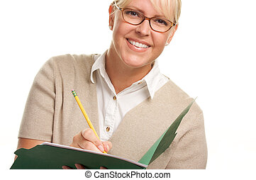 Woman Writes in Folder - Beautiful Woman with Pencil and...