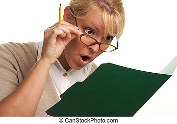 Shocked Woman with Folder