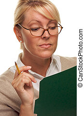 Clever Woman with Folder