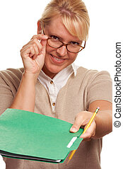 Woman Hands Over Folder - Beautiful Woman with Pencil...