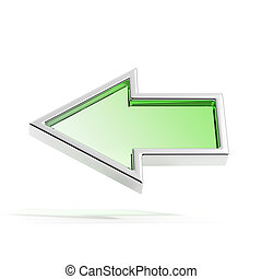 Green left arrow  isolated on white background