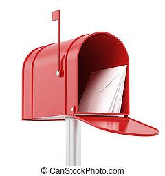 赤, 赤, メールボックス, 郵便