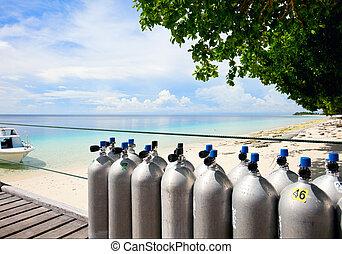 Diving tanks - Compressed air tanks prepared for diving trip