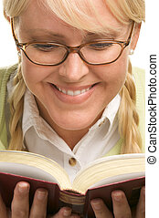 Female in Ponytails Reads - Female With Ponytails Reads Her...