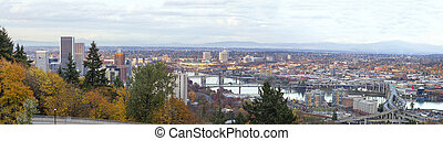 Portland Cityscape Along Willamette River Panorama -...