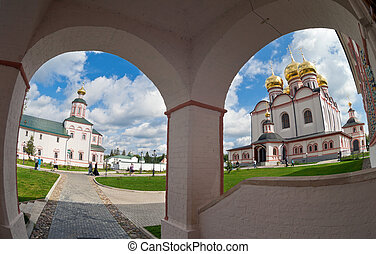 Russian orthodox church. Iversky monastery in Valday, Russia.