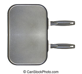 A large non stick dual burner frying pan isolated on white