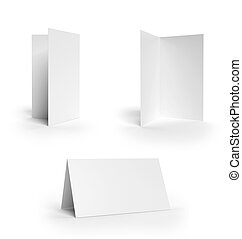 Collection folded cards isolated on white background
