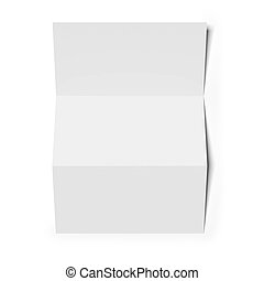 Blank folded paper isolated on white background