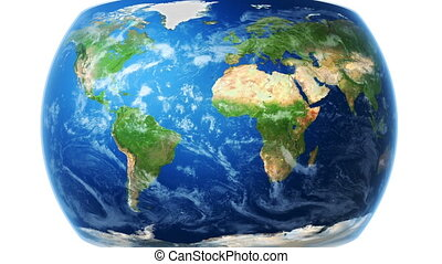 World Map Wraps to Globe (white bg) - World map wraps around...